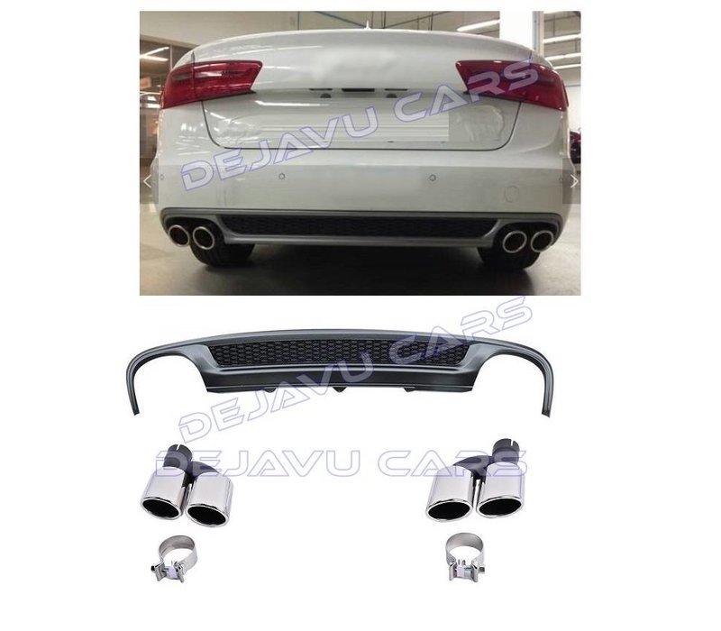 S line Look Diffuser + Uitlaat sierstukken voor Audi A6 C7 4G