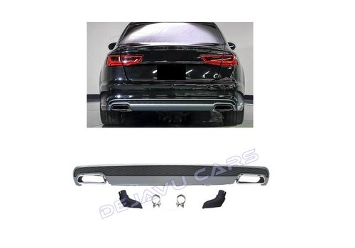 DEJAVU CARS - OEM LINE S line Facelift Look Diffuser + Exhaust tail pipes for Audi A6 C7 4G