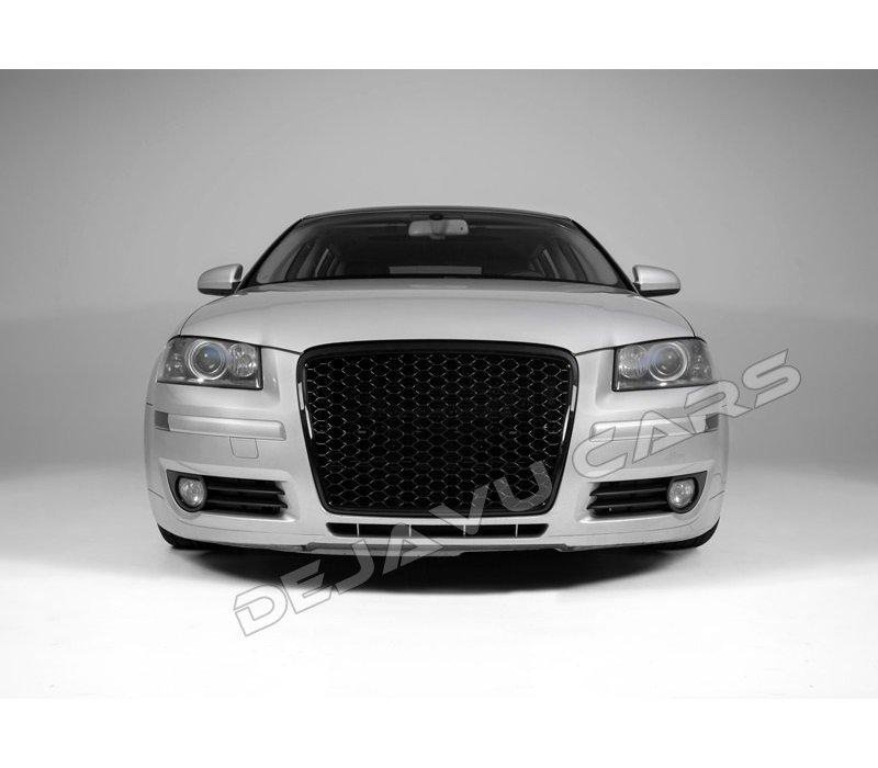 RS3 Look Front Grill Hoogglans zwart Black Edition voor Audi A3 8P