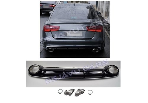 DEJAVU CARS - OEM LINE RS6  Look Diffuser + Exhaust tail pipes for Audi A6 C7 4G (S LINE)