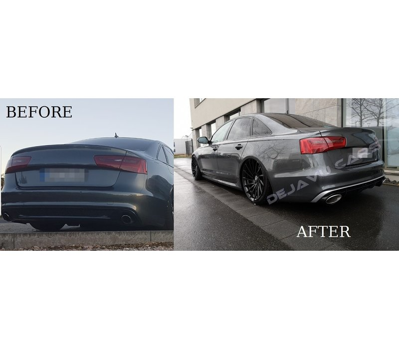 RS6  Look Diffuser + Exhaust tail pipes for Audi A6 C7 4G (S LINE)