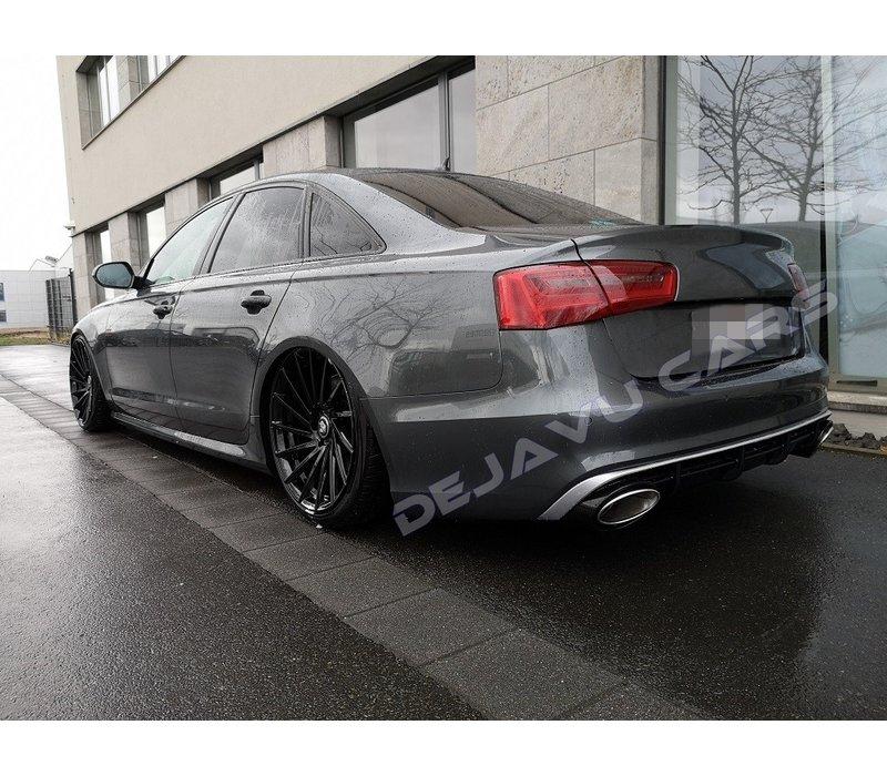 RS6 Look Diffuser + Uitlaat sierstukken voor Audi A6 C7 4G (S LINE)