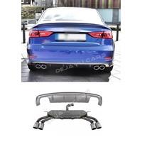S3 Look Diffuser Platinum grijs + Uitlaat systeem voor Audi A3 8V (S line achterbumper)