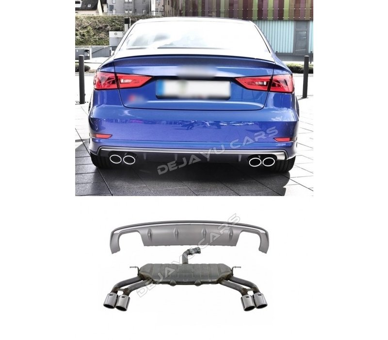 S3 Look Diffuser + Uitlaat systeem voor Audi A3 8V S line