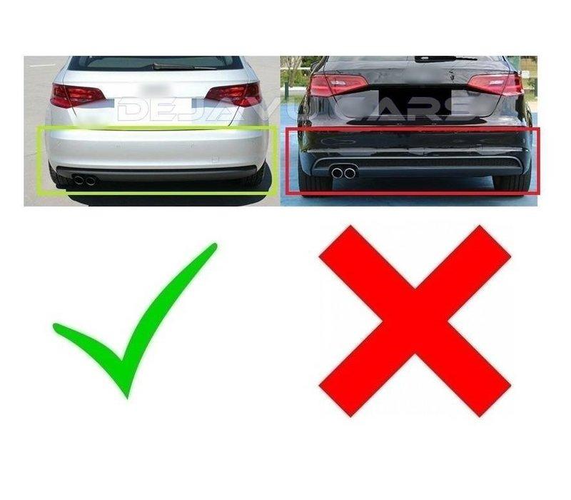 S3 Look Diffusor Black Edition + Auspuffanlage für Audi A3 8V Hatchback / Sportback