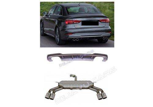 OEM LINE S3 Look Diffuser Platinum grijs + Uitlaat systeem voor Audi A3 8V (S line achterbumper)
