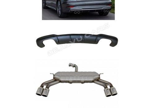 OEM LINE S3 Look Diffusor Black Edition + Auspuffanlage für Audi A3 8V (S line hintere Stoßstange)