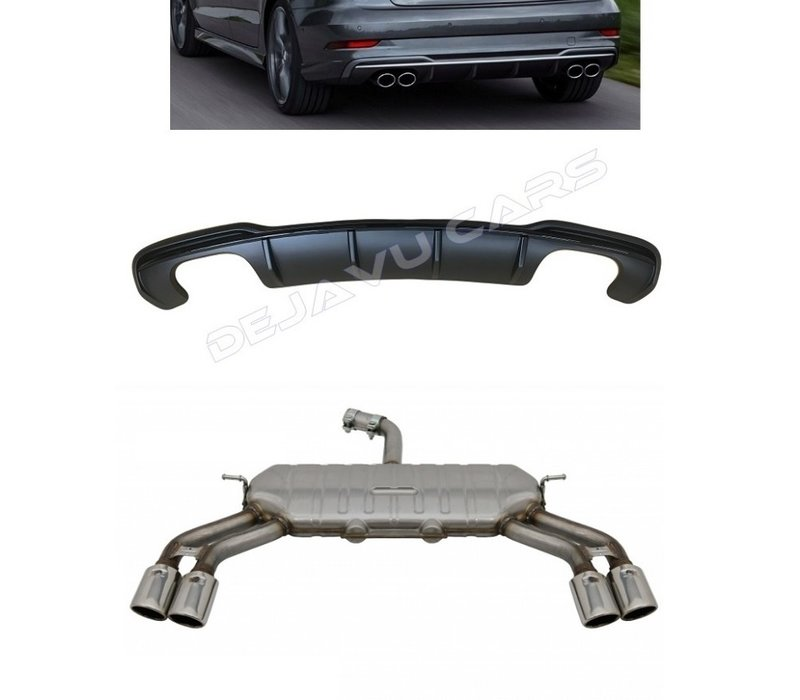 S3 Look Diffuser Black Edition + Exhaust system for Audi A3 8V (S line rear bumper)
