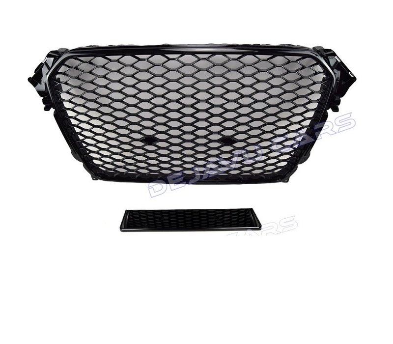 RS4 Look Kühlergrill Black Edition + Nebelscheinwerfer Blenden für Audi A4 B8.5