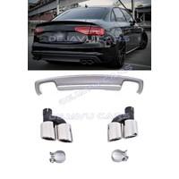 S4 Look Diffuser + Uitlaat sierstukken voor Audi A4 B8.5 (S line)