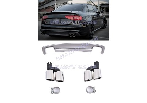 DEJAVU CARS - OEM LINE S4 Look Diffuser + Exhaust tail pipes for Audi A4 B8.5 (S line)