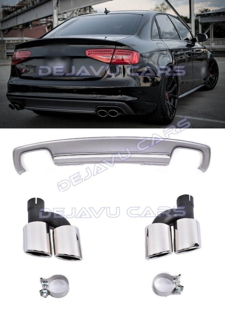 S4 Look Diffuser Exhaust Tail Pipes For Audi A4 B8 5 S Line Www Dejavucars Eu