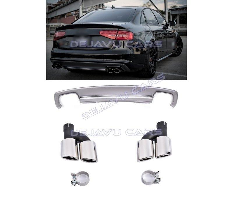 S4 Look Diffuser + Uitlaat sierstukken voor Audi A4 B8.5