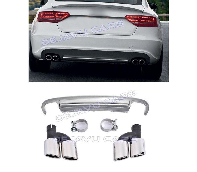 S5 Look Diffuser + Uitlaat sierstukken voor Audi A5 8T Sportback
