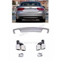 S5 Look Diffuser + Uitlaat sierstukken voor Audi A5 8T Coupe