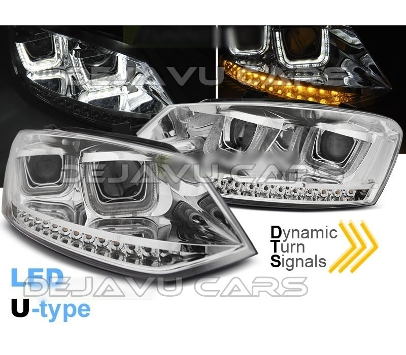 Xenon Look U LED Koplampen voor Volkswagen Polo 6R / 6C - Chrome