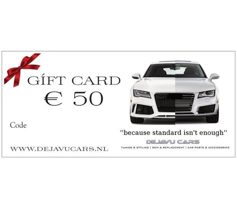 DEJAVU CARS GIFT CARD € 50