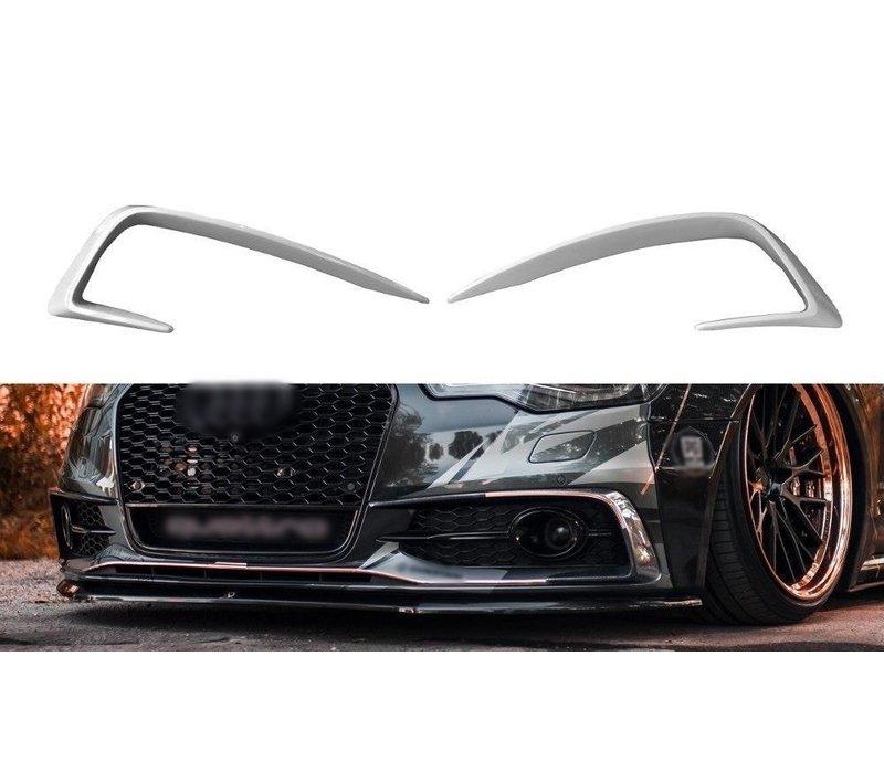 Aggressive front bumper spoiler for Audi A6 C7 S-line & S6