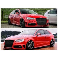 RS3 Look Frontgrill High-gloss Piano Black Edition for Audi A3 8V, S-line, S3