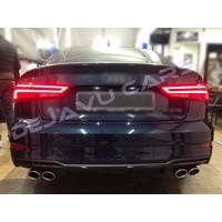 S3 Look Diffusor Black Edition + Auspuffanlage für Audi A3 8V (S line hintere Stoßstange)