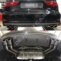 S3 Look Diffuser Platinum gray + Exhaust system for Audi A3 8V (S line rear bumper)
