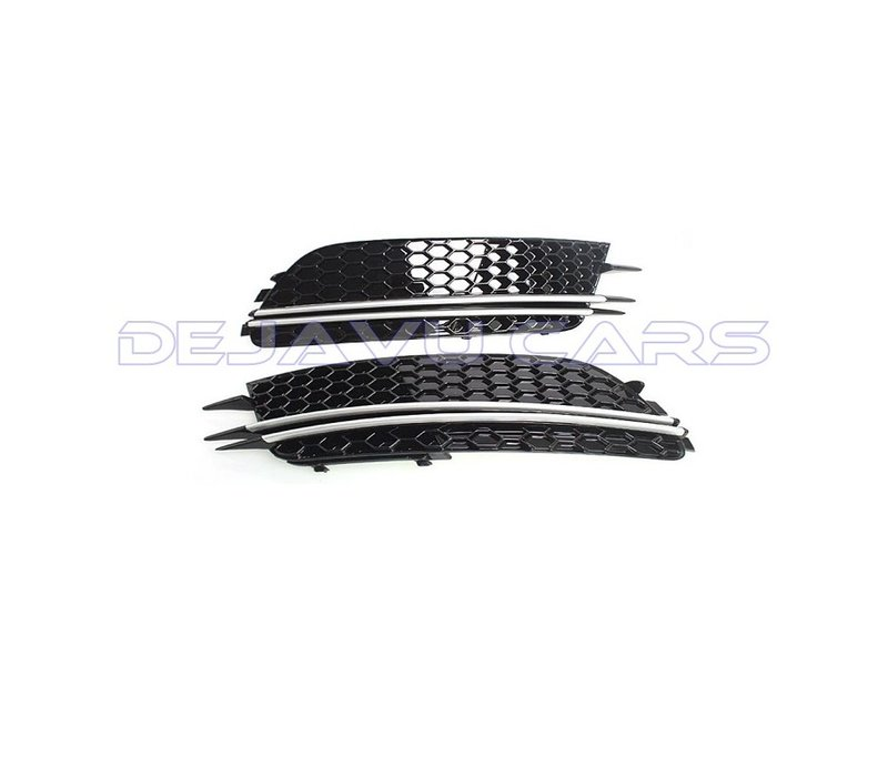 RS6 Look Fog light grille Silver/Black Edition for  Audi A6 C7