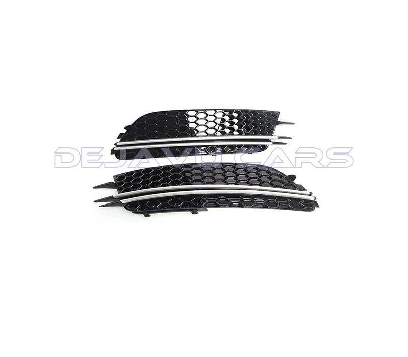 RS6 Look Nebelscheinwerfergitter Silver/Black Edition für  Audi A6 C7