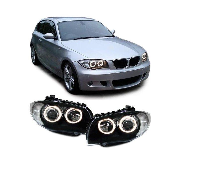 Xenon look Koplampen met Angel Eyes voor BMW 1 Serie E81 E82 E87 E88