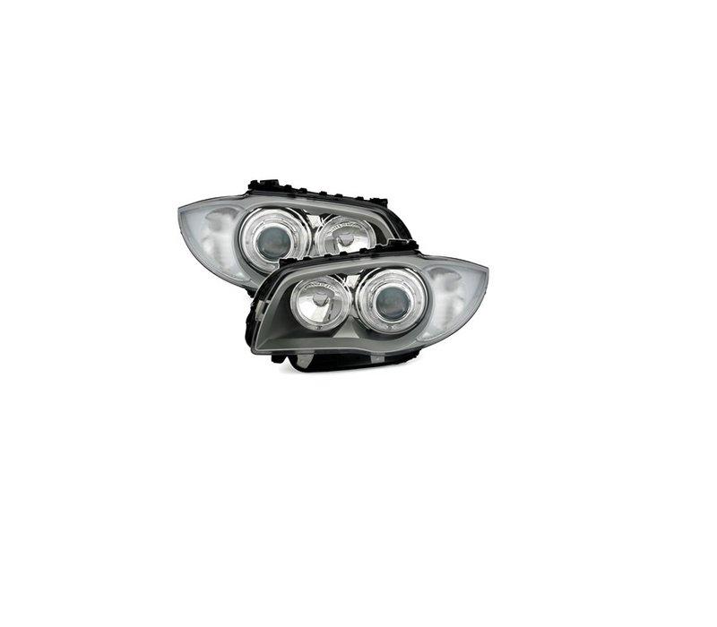 Xenon look Koplampen met LED Angel Eyes voor BMW 1 Serie E81 E82 E87 E88
