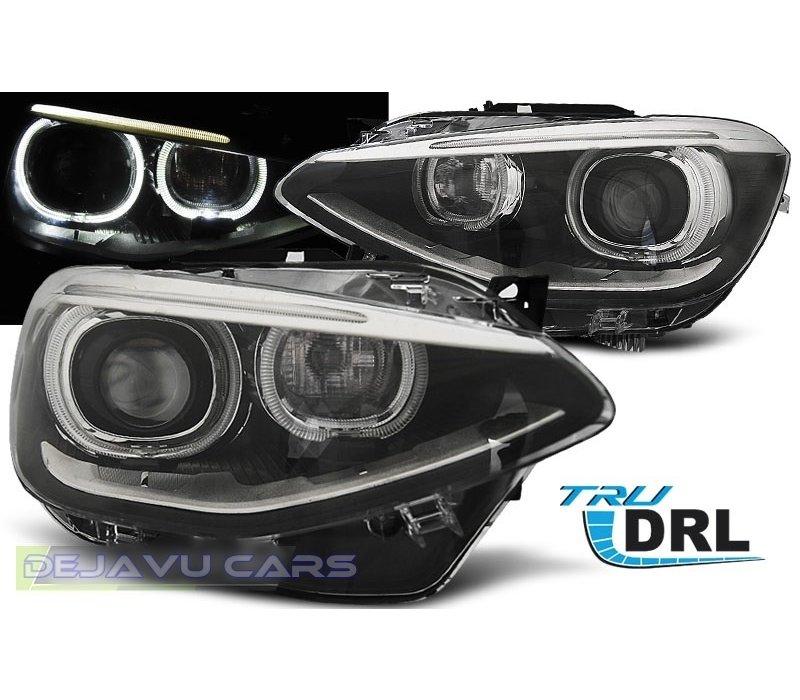 LED Koplampen Bi Xenon look met Angel Eyes voor BMW 1 Serie F20 / F21