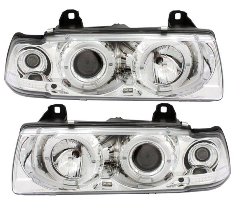 Xenon look Scheinwerfer mit Angel Eyes für BMW 3 Serie E36