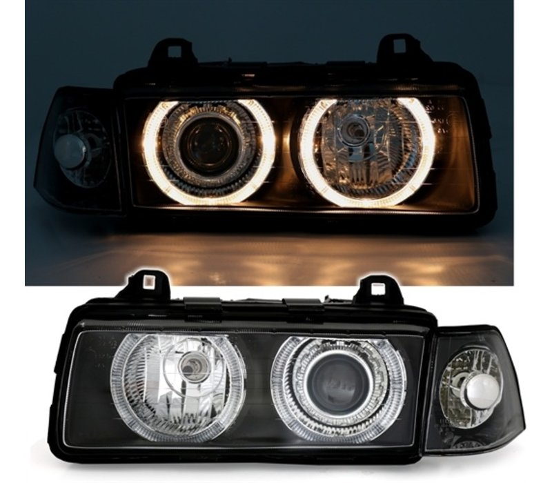 Xenon look Headlights with Angel Eyes for BMW 3 Series E36