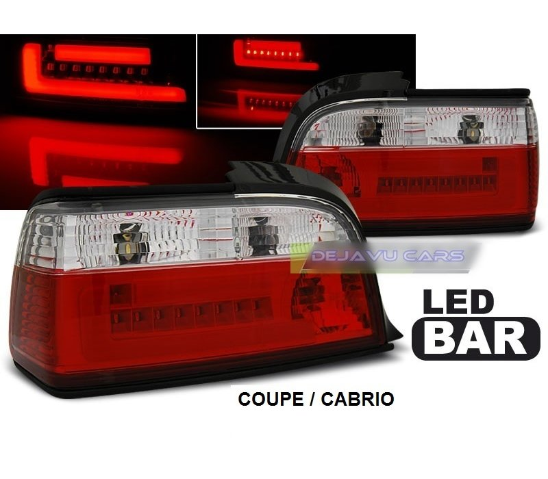Red/White LED BAR Tail Lights for BMW 3 Series E36