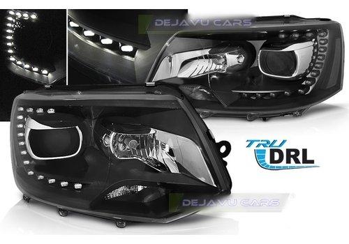 DEPO Bi Xenon Look LED Koplampen voor Volkswagen Transporter T5 - Black Edition