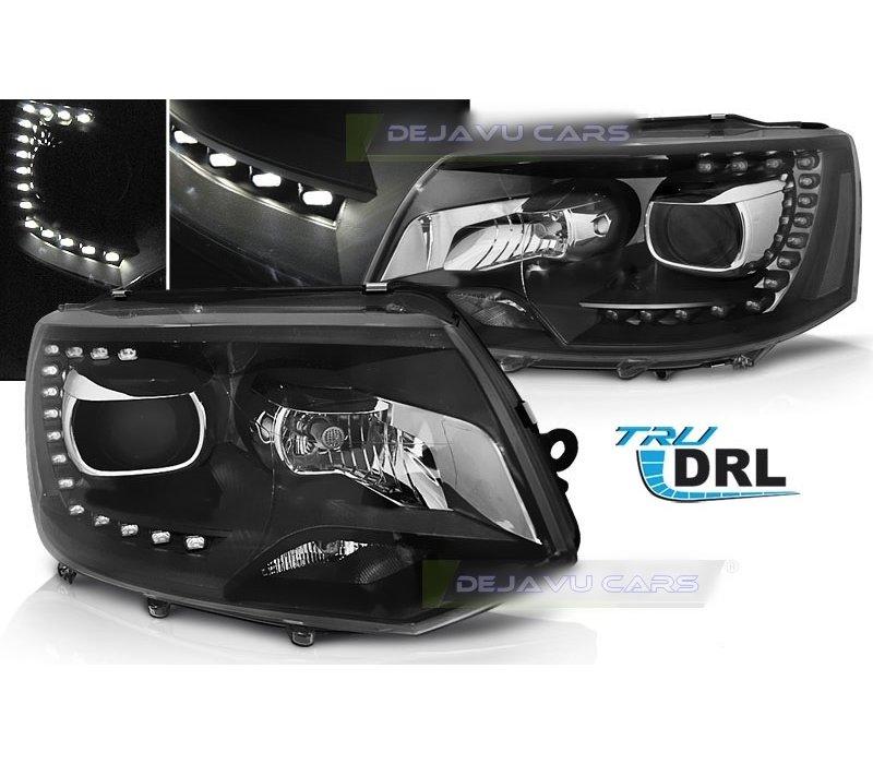 Bi Xenon Look LED Headlights for Volkswagen Transporter T5 - Black Edition