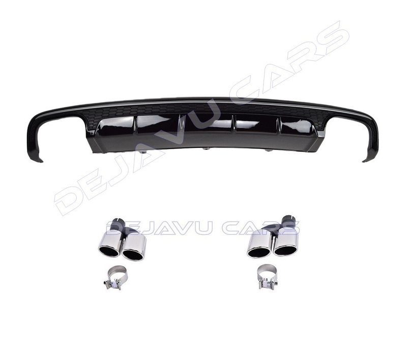 S6 Look Diffuser Black Edition + Exhaust tail pipes for Audi A6 C7.5 Facelift