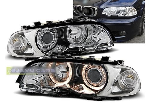 OEM LINE Xenon look Headlights with Angel Eyes for BMW 3 Series E46