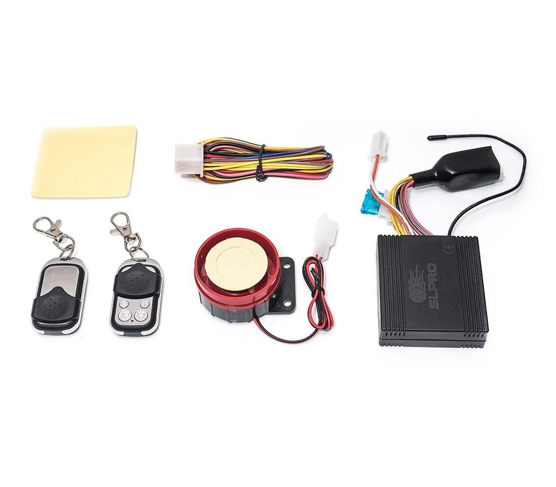 Universal alarm system for motorcycle 12V with remote control siren finder function