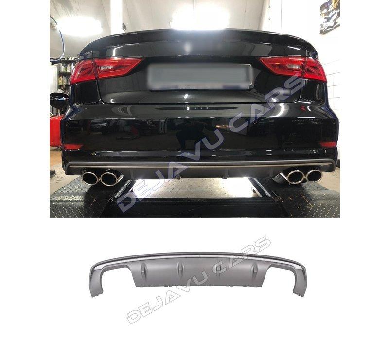 S3 Look Diffusor Platingrau + Auspuffanlage für Audi A3 8V (S line hintere Stoßstange)