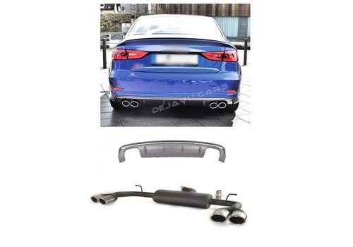 OEM LINE S3 Look Diffuser Platinum gray + Exhaust system for Audi A3 8V (S line rear bumper)
