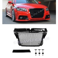 RS3 Look Front Grill Hoogglans zwart Black Edition voor Audi A3 8P
