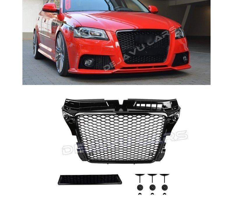 RS3  Look Front Grill High-gloss Black Edition for Audi A3 8P
