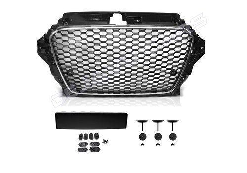 OEM LINE® RS3 Look Frontgrill Glans zwart Piano Black Edition voor Audi A3 8V, S-line, S3