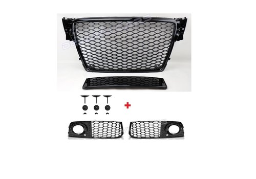 OEM LINE RS4 Look Front Grill Black Edition + Mistlamp Roosters voor Audi A4 / S4 / S line