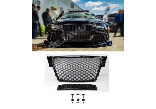 OEM LINE RS4 Look Front Grill Black Edition for Audi A4 B8