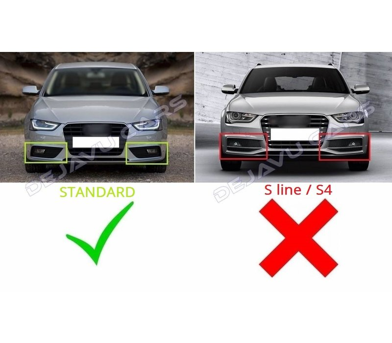 RS4 Look Front Grill Black Edition + Mistlamp Roosters voor Audi A4 B8.5