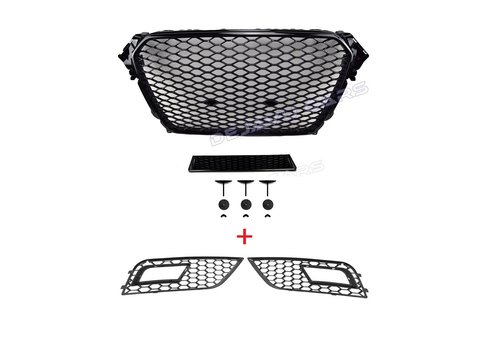 OEM LINE RS4 Look Front Grill Black Edition + Mistlamp Roosters voor Audi A4 B8.5