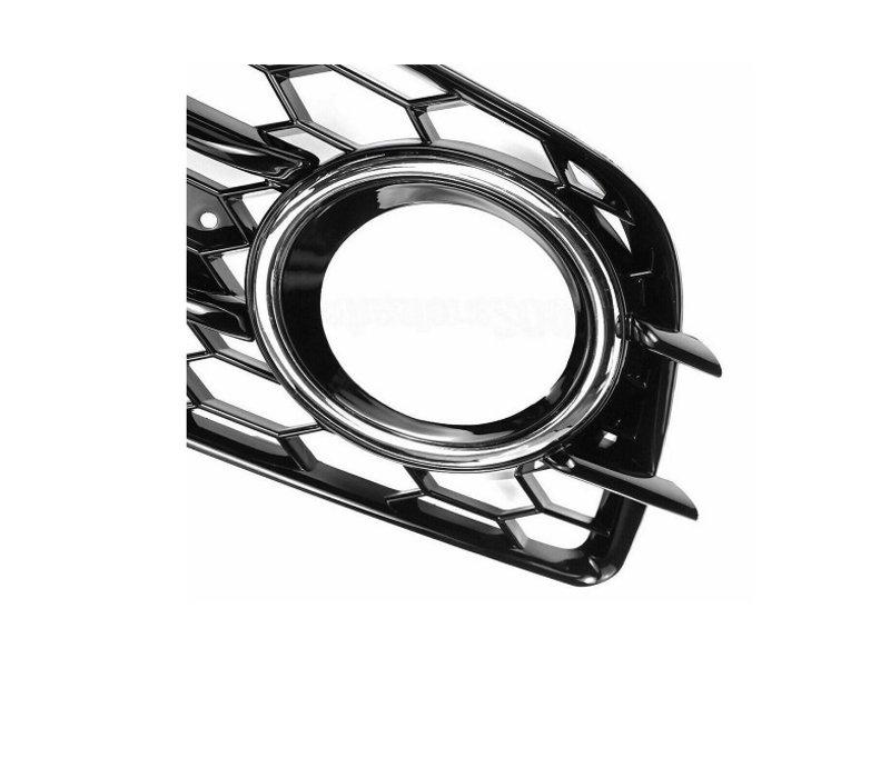 RS4 Look Kühlergrill Black Edition + Nebelscheinwerfer Blenden für Audi A4 / S4 / S line