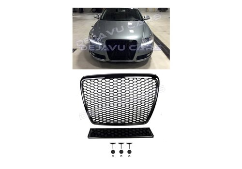 OEM LINE RS6 Look Front Grill Black Edition voor Audi A6 C6 4F