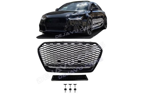 OEM LINE RS6 Quattro Look Front Grill Black Edition for Audi A6 C7.5 Facelift